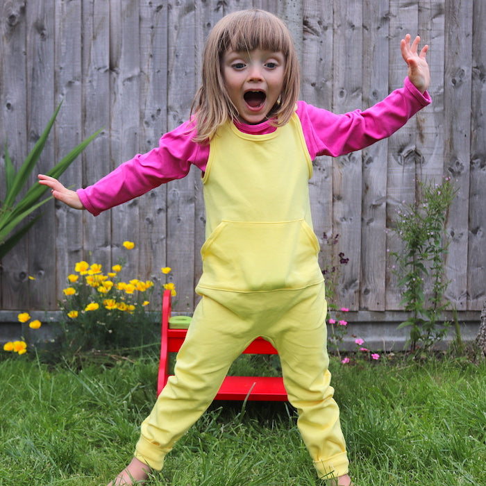 Beeboobuzz organic cotton kids childrens dungarees yellow British made plain coloured bright basics unisex gender neutral