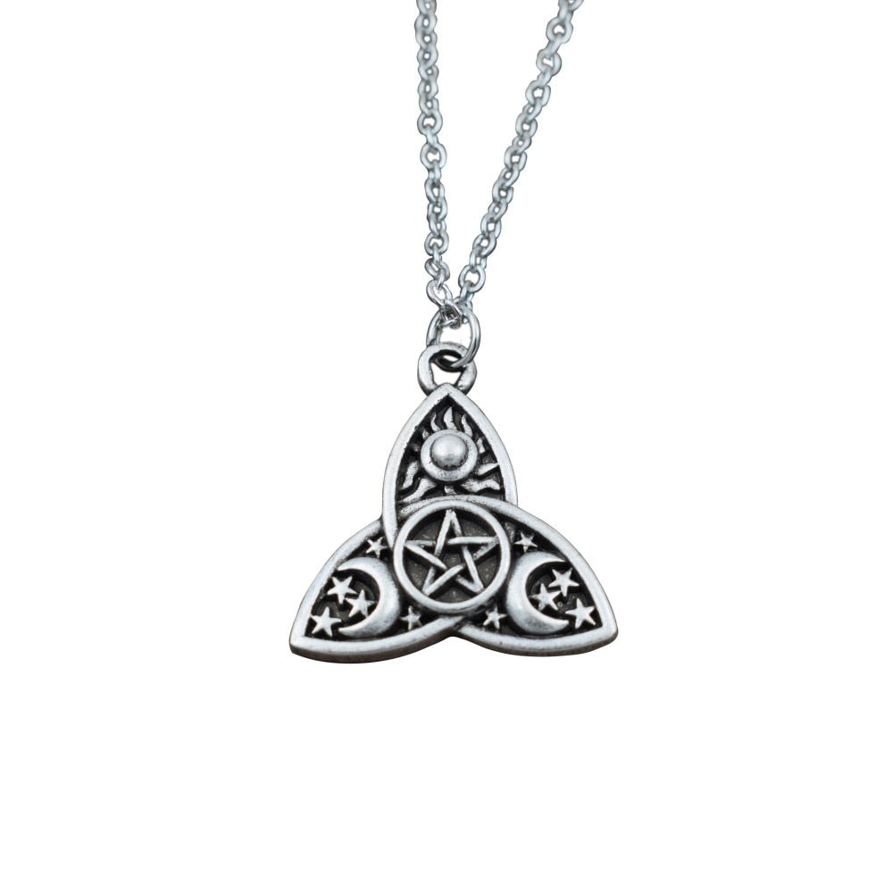 Triple Moon Goddess Triquetra Pentacle Necklace Pagan Wicca Pendant