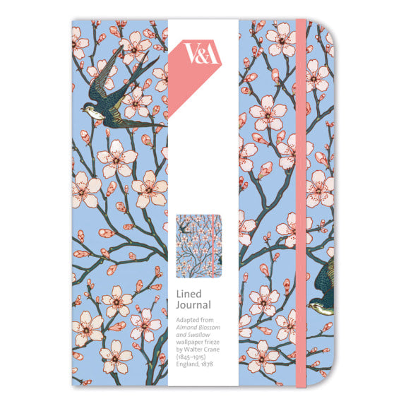 V&A Almond Blossom and Swallow Elasticated Lined Journal