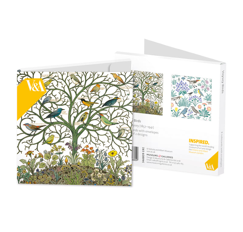 V&A Voysey Birds Square Set of 8 Art Notecards Wallet - Bee's Emporium