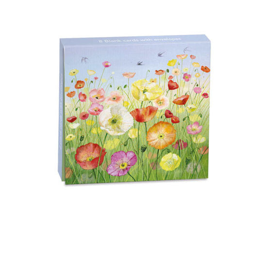 Lucy Grossmith Icelandic Poppies Mini Notecard Wallet - 8 Cards with Envelopes