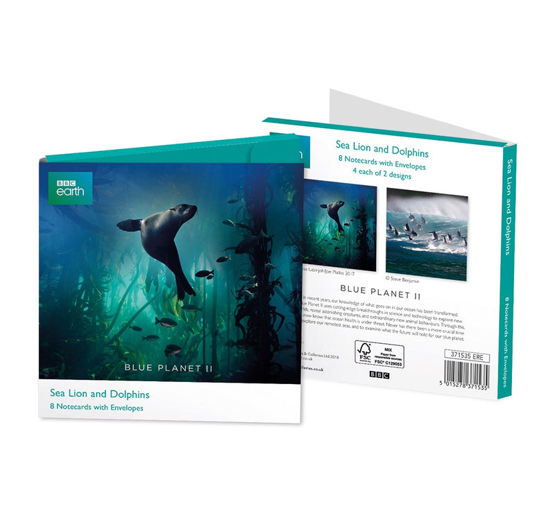 BBC Earth Blue Planet II Sea Lion and Dolphins 8 Notecards with Envelopes - Bee's Emporium