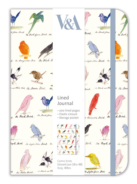 V&A Edward Lear Birds Elasticated Lined Journal
