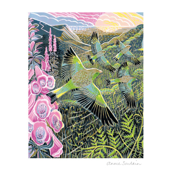 Foxgloves and Finches by Annie Soudain Blank Greeting Card with Envelope