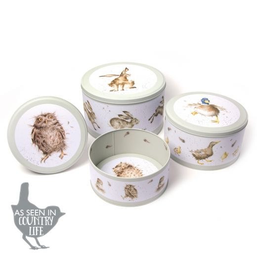 Wrendale Designs Collection Set of 3 Nest Cake Tin in Hare, Duck, Owl - Bee's Emporium