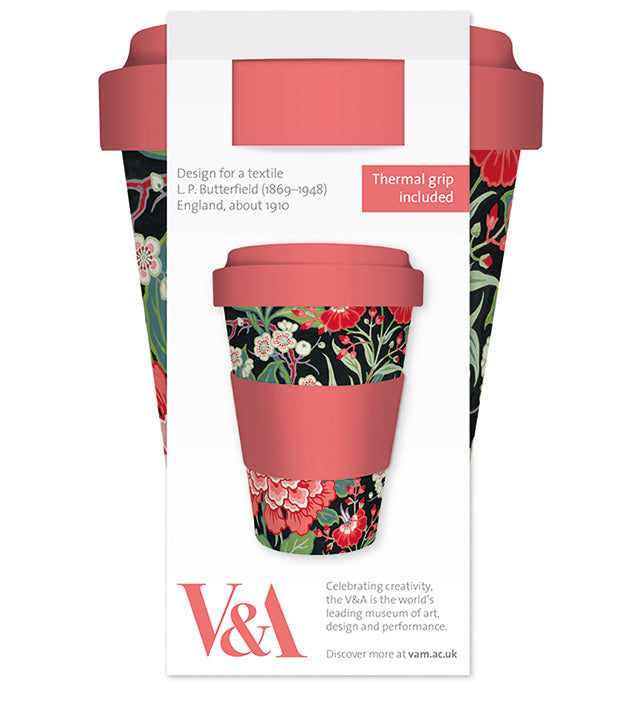 V&A Peony and Prunus Reusable Bamboo Travel Mug - Bee's Emporium