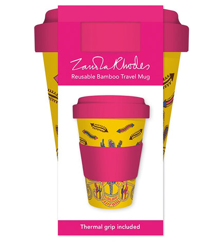 Zandra Rhodes - Cactus Yellow Reusable Bamboo Travel Mug - Bee's Emporium