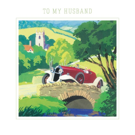 To My Husband - Country Drive Anniversary Greeting Card with Envelope