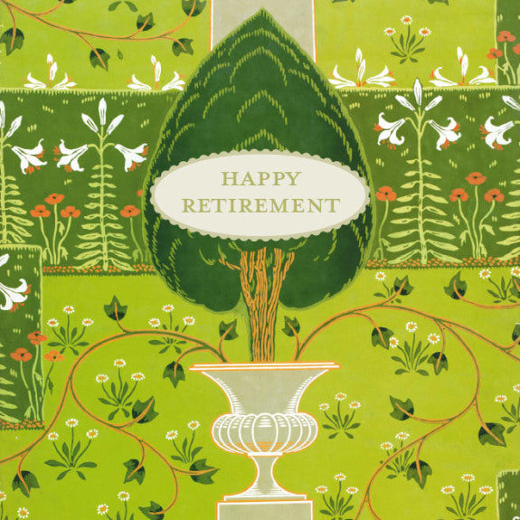 Happy Retirement - V&A Formal Garden Blank Greeting Card with Envelope