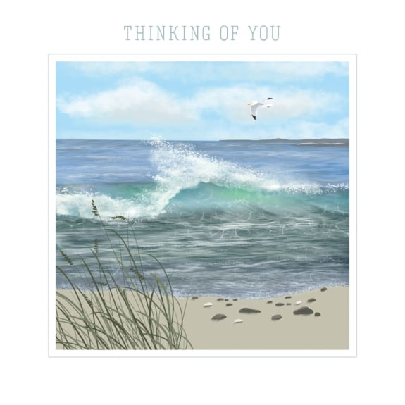 Thinking Of You - Seagull at High Tide Blank Greeting Card with Envelope