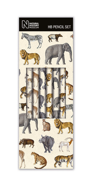 Natural History Museum Safari Boxed 6 HB Pencils with Eraser Tips