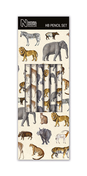 Natural History Museum Safari Animals Boxed Set of 6 HB Pencils with Eraser Tips