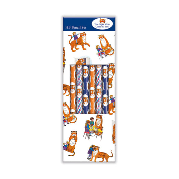 The Tiger Who Came To Tea Boxed Set of 6 HB Pencils with Eraser Tips
