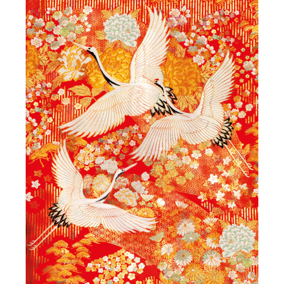 V&A Kimono Cranes Blank Greeting Card with Envelope