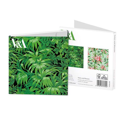 V&A Palms & Blossom Square Notecards with Envelopes - Bee's Emporium