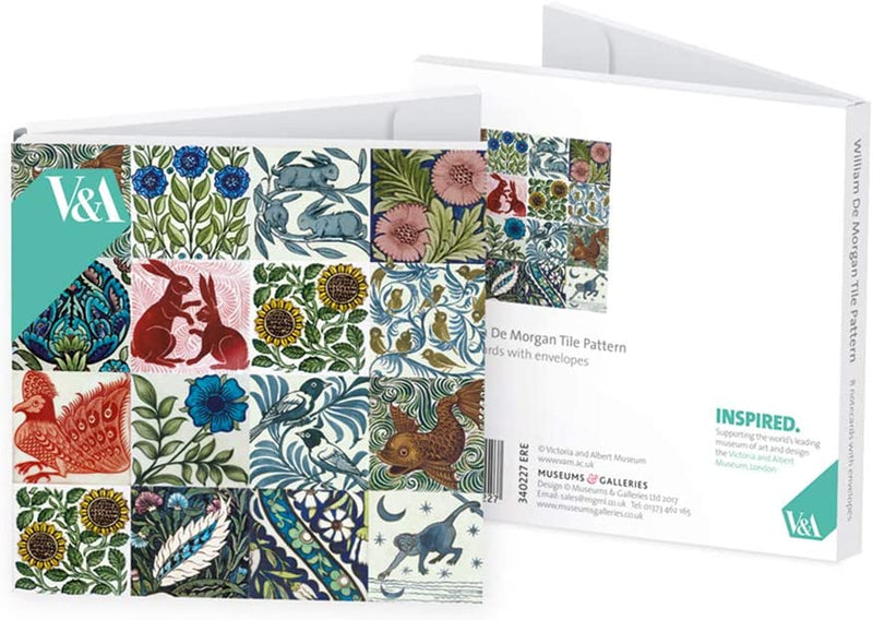 V&A William De Morgan Tiles Square Set of 8 Art Notecards Wallet - Bee's Emporium