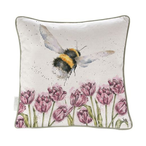 Wrendale Designs Flight of the Bumblebee - Bee Cushion - Cotton Linen Blend