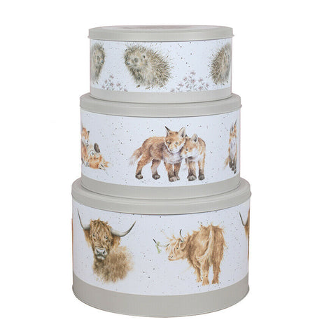 Wrendale Designs Collection Set of 3 Nest Cake Tin in Hedgehog, Fox, Bull