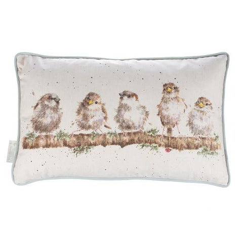 Wrendale Designs - Chirpy Chaps Birds Rectangle Cushion Cotton Linen Blend