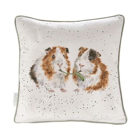 Wrendale Designs Lettuce Be Friends - Guinea Pig Cushion - Cotton Linen Blend