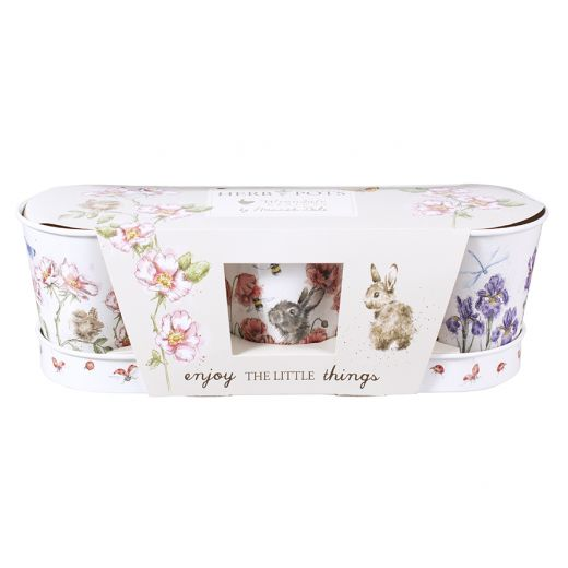 Wrendale Designs Set of 3 Floral Herb Pots with Tray - Bee's Emporium
