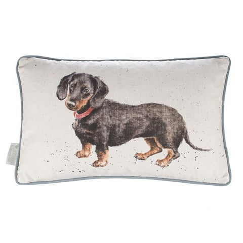 Wrendale Designs Hugo Dachshund Rectangle Cushion - Cotton Linen Blend