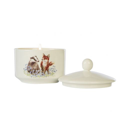 Wax Lyrical - Wrendale Designs 'Meadow' Fox and Badger Ceramic Trinket Candle - Bee's Emporium