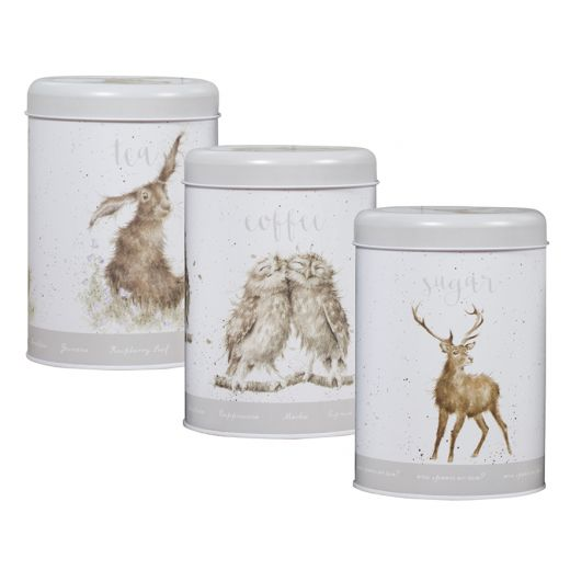 Wrendale Designs Hare, Owl, Deer Tea, Coffee and Sugar Canisters