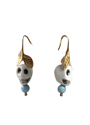 Frida Kahlo skull earrings. White