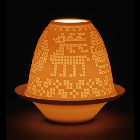 Lladro Lithophane Votive Light - Cross-stitch Dalmazio Design