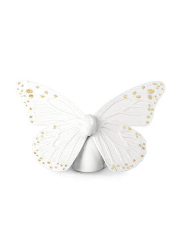Butterfly Figurine. Golden Luster & White