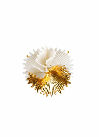 Actinia Brooch. White and Golden luster