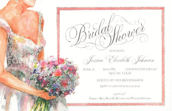 Baby's Breath & Roses Personalized Bridal Invitations (Set of 50)