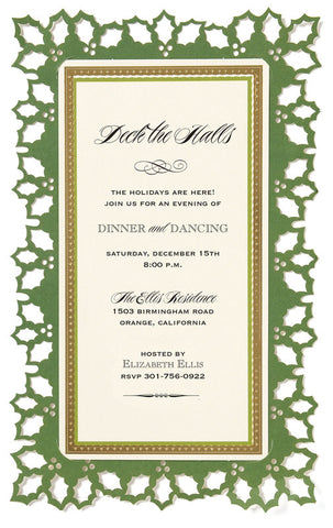 Christmas Holly Die-Cut Personalized Frame Invitations (Set of 50)