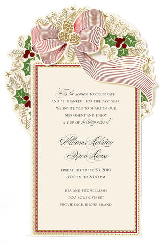 Christmas Wreath Die-Cut Personalized Invitations (Set of 50)