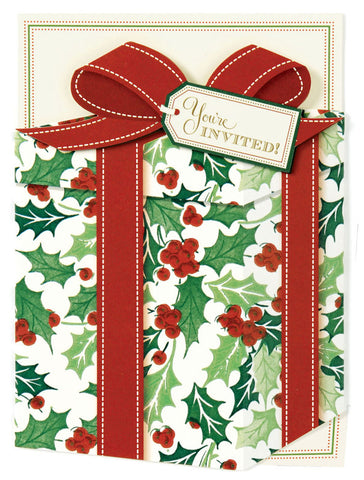 Christmas Present Die-Cut Pocket Personalized Invitations (Set of 50)