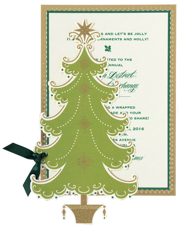 Christmas Tree Die-Cut Personalized Invitations (Set of 50)