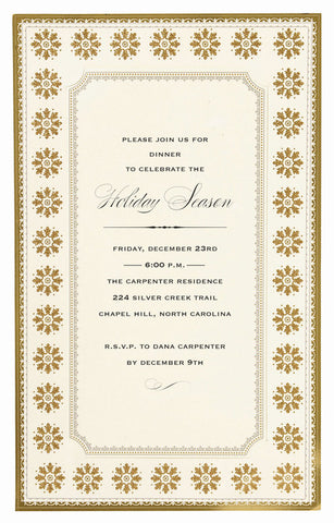 Gold Snowflake Frame Personalized Invitations (Set of 50)