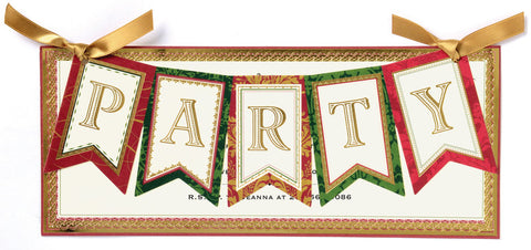 Christmas Party Banner Die-Cut Personalized Invitations (Set of 50)