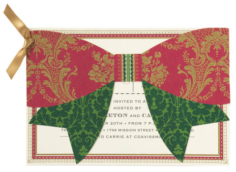 Christmas Bow Die-Cut Personalized Invitations (Set of 50)