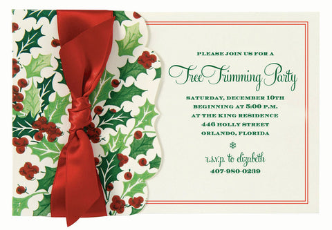 Holly & Berries Die-Cut Side Pocket Personalized Invitations (Set of 50)