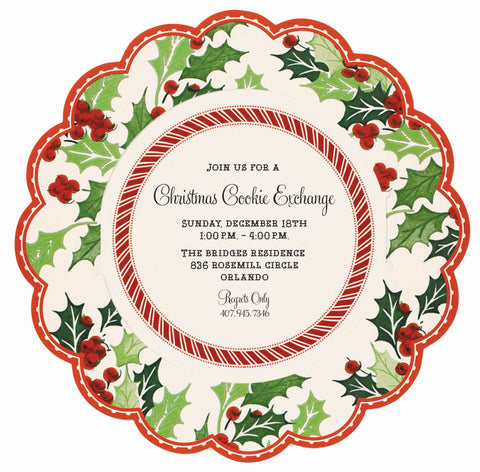 Christmas Holly Round Die-Cut Personalized Invitations (Set of 50)