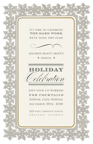 Silver Snowflake Die-Cut Frame Personalized Invitations (Set of 50)