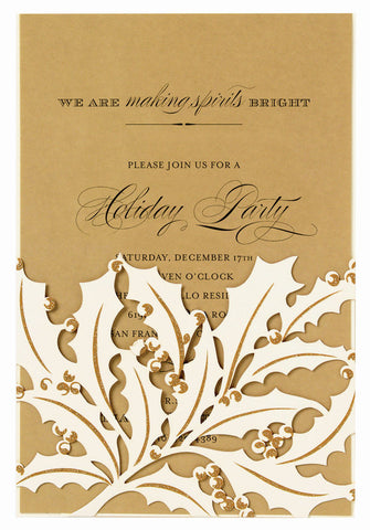 Ivory Holly Leaf Die-Cut Pocket Personal Invitations (Set of 50)