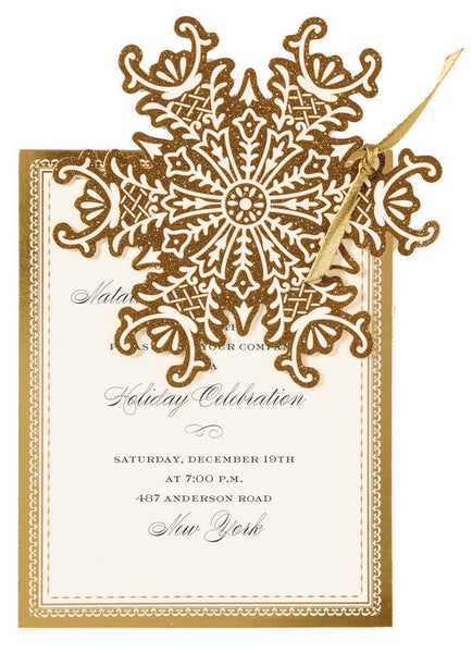 Golden Snowflake Die-Cut Personalized Invitations