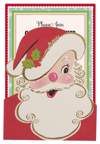 Santa Die-Cut Pocket Personalized Invitations (Set of 50)