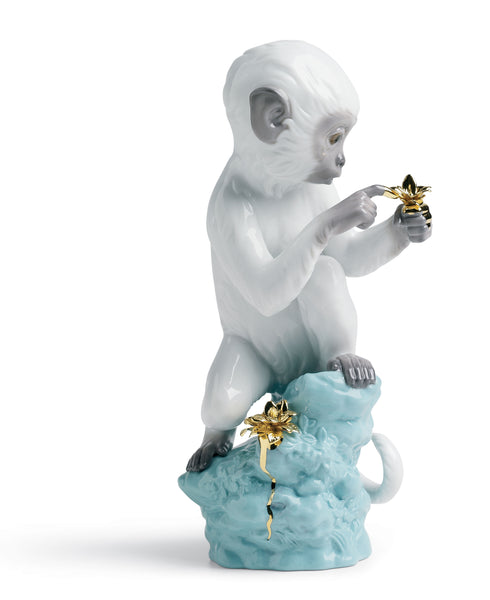 Lladro Curiosity Monkey on Turquoise Rock Figurine - Dalmazio Design