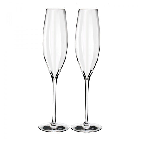 Waterford Elegance Optic Classic Champagne Flute, Pair Dalmazio Design