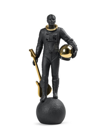 Walking on the Moon Figurine. Black & Gold