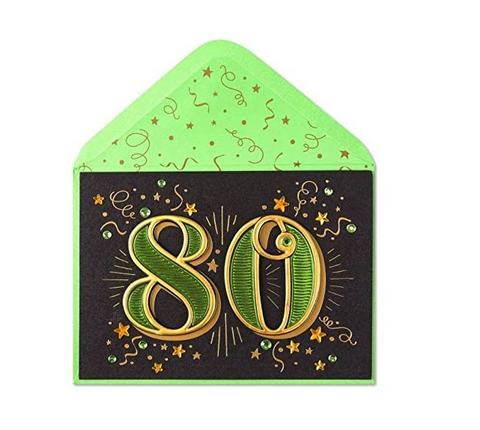 80th Birthday Card With Stars